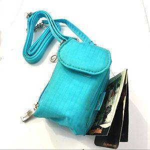 Baggalini Flip Phone Shoulder Bag Case Turquoise